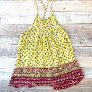 Hollister, Yellow and Red Sleevless Tank patterned
